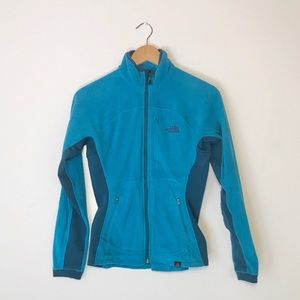 The North Face blue polartec zip up sweater